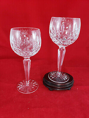 WATERFORD LISMORE BALLOON WINE HOCK GLASSES 7 3/8 IN CRYSTAL Set of 2