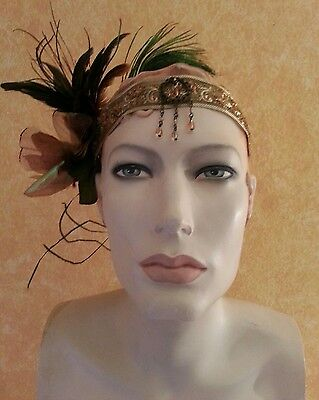 Gatsby 20's Flapper Gold Peacock Bead Bridal Headpiece Party Wedding Costume