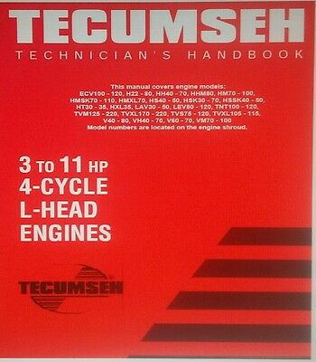 Tecumseh 3-11 hp Engine Service Manual Major Overhaul Repair Shop Garden Tractor