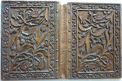 Pair Black Forest Style Carved Oak Panels - Covers From Antique Photograph Album