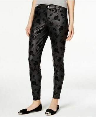 fc4a78b0982b74 HUE Women's NEW Black Floral Flocked Leatherette Lightweight Leggings Size  XS