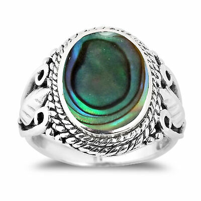 Vintage Inspired Round Abalone Shell with Leaf Accents Sterling Silver Ring – 7