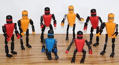 6 Robot PEOPLE Men Teal Black Red Silver Blue KNEX FIGURES LOT Parts//Pieces