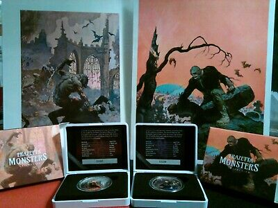 2017  2x1oz Frazetta Silver Proofs  Werewolf vs The Count and Beyond the Grave.
