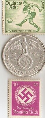 1936-*german  Olympic STAMP and  SILVER  EAGLE(.900%,)  coin + FREE *greek stamp