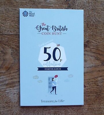 2019 Royal Mint Great British Coin Hunt 50p Album, Starter Collector Album - New