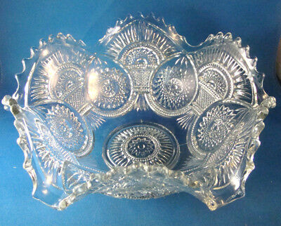 "Antique Imperial Glass Large Fruit Bowl 9.5"" Ruffle HOBSTAR & ARCHES 1909 @26"