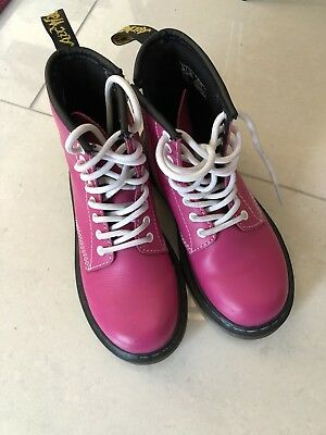 Girls Hot PINK DOC MARTINS Leather BOOTS (uk12) Great Condition