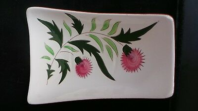 "STANGL THISTLE 11"" Trapezoid Relish Tray Dish Vtg Mid-Century Pink Green PRETTY!"