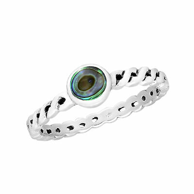Elegant Multi-Colored Abalone Shell Inlay Sterling Silver Twisted Band Ring - 8