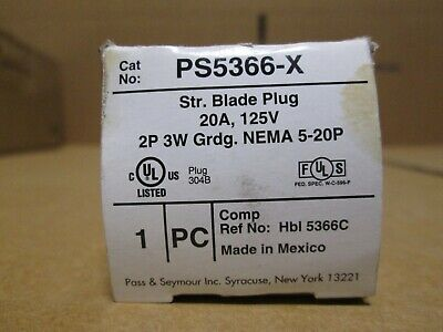 Pass & Seymour 20A 125V 2P 3W Catalog # PS5366-X           **New in box**