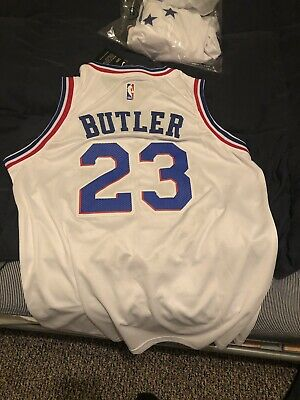 4aca4e434a9 Philadelphia 76ers  23 Jimmy Butler White Nike Swingman Jersey Size Lg  EARNED
