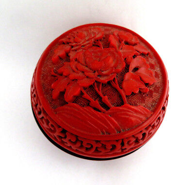 Early 1900's Chinese Cinnabar Lacquer Box ~ Peony Floral