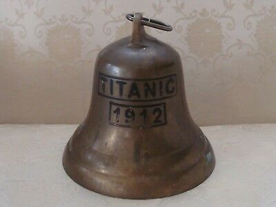 """LARGE BRASS BELL MARKED 1912 TITANIC Vintage Bell 6"""" x 6"""""""