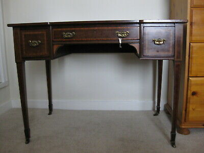 Antique Victorian Mahogany Leather Top Inlaid Desk / Lady's Desk / Writing Table
