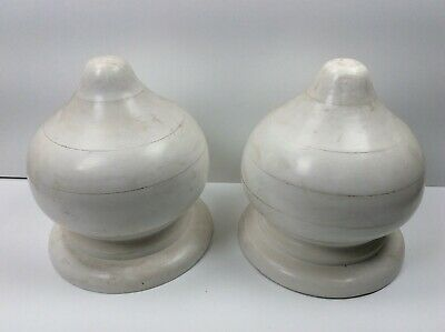 Vintage Pair of Large Decorative Wood Exterior Onion Dome Painted White Finials