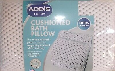 Addis White Cushioned Bath Pillow With Suction Pads