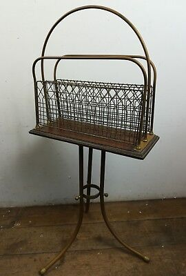 Vintage Brass Mahogany magazine newspaper study office rotating rack old