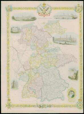 """1850 RARE Original Antique Map of """"GERMANY"""" by TALLIS FULL COLOUR (34)"""