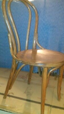 Unique Vintage Solid Oak Bentwood Side Chair Bayonet Joined Legs Guitar Stool