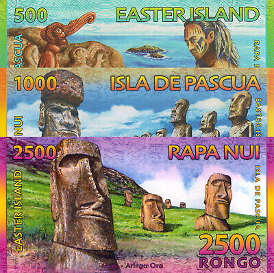 Easter Island 3 Note Set: 500, 1000 and 2500 Rongo UNC