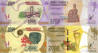 Madagascar 2 Note Set: 1000 and 2000 Ariary (ND/2017) - Flora and Fauna/pNew
