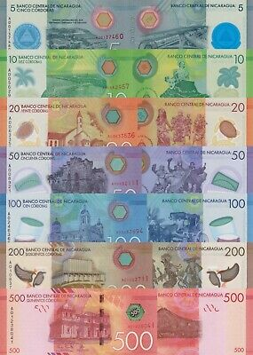 Nicaragua Note Set: 10,20,50,100,200 & 500 Cordobas (2014) p209-p214/Polymer UNC