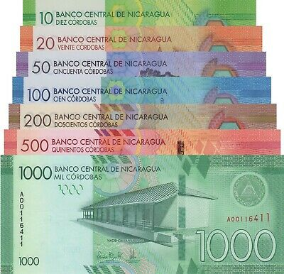 Nicaragua 7 Note Set: 10 to 1000 Cordobas, p209-p215 UNC