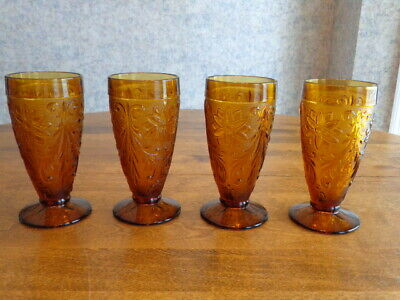 Tiara Sandwich Amber Iced Tea Glasses Lot Of 4