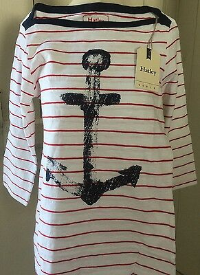 New Hatley Breton Narrow Red Striped Cotton Sailor Anchor Top sz XS