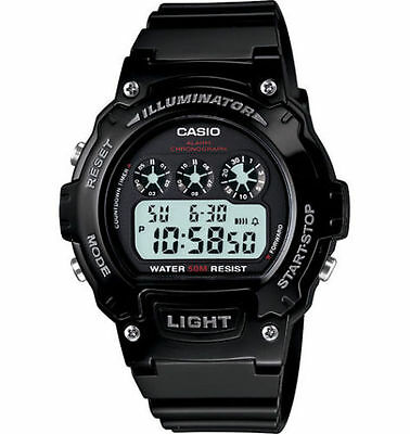 Casio W214HC-1AV,  Men's Black Resin Watch, Stopwatch, Countdown Timer, Alarm