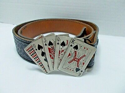 VINTAGE Playing Cards belt buckle from 1979 & Safariland leather belt