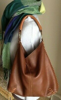 dc663c2a5c8dd LUCKY BRAND HOBO Slouchy Brown Leather Shoulder Bag Whip Stitch Braided  Handle