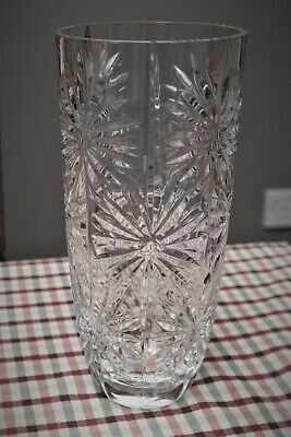 Large Vintage Crystal Vase, 24 cm tall, 11 cm wide