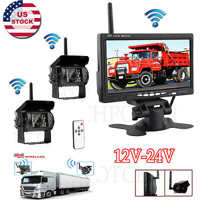 "2X Wireless Car Parking Reversing Camera+7"" Rear View Monitor Kit Truck Bus Van"