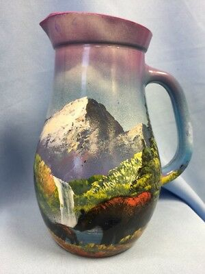 """Estate Find! Artist Painted Pitcher Mountain Forest Scene Cabin Lodge Decor 8"""""""