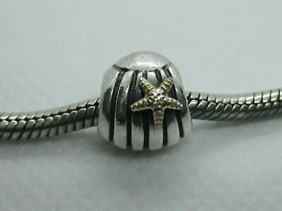 50d361836 Authentic Sterling Pandora Seashell Sea Shell w/14k Gold Starfish 790249  Retired
