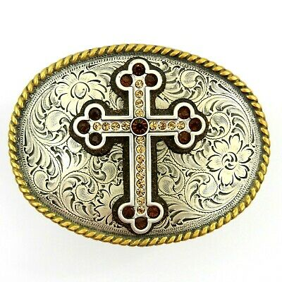 Nocona Belt Buckle Rhinestone Cross Silver Tone Floral Filigree Oval Women's