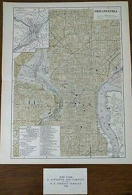 Vintage 1896 PHILADELPHIA PENNSYLVANIA City Map Old Antique Original MAPZ