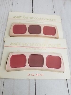 Lot of 2 Vintage Mary Kay Lip Color Palette Warm Beige, Red, Ginger, Scarlette
