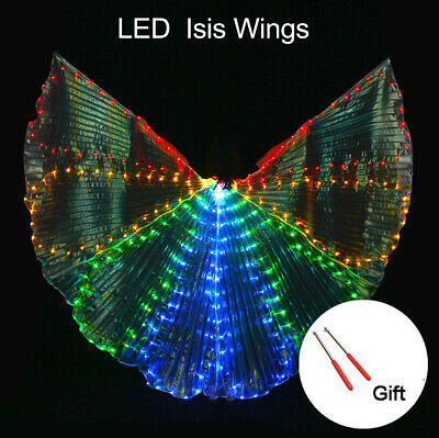 360° LED Isis Wings Belly Dance Cosplay Glow Show Light Up Costum w/Controller