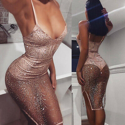 Women Bodycon Sexy Evening Club Cocktail See-through Sequin Glitter Party Dress