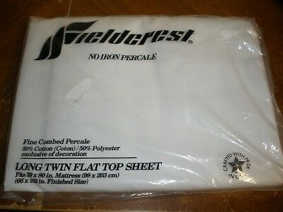 NEW Vintage Fieldcrest No Iron Percale White Long Twin Flat Top Sheet