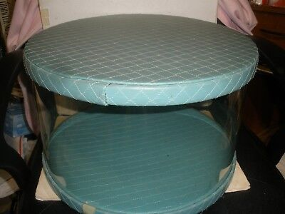 """vintage Henry A. Enrich & Co, Inc N.Y Hat Box Blue/Green Quilted 16"""" X 11"""""""