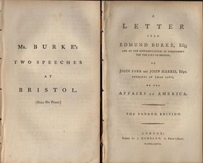 Edmond Burke / Five Speeches and Letters by Edmund Burke Published separately