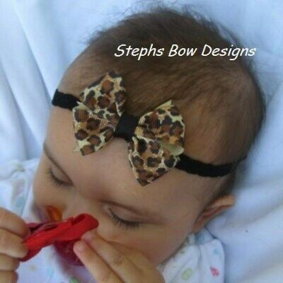 Leopard Safari Print Dainty Hair Bow Headband FITS Preemie Newborn Baby Toddler