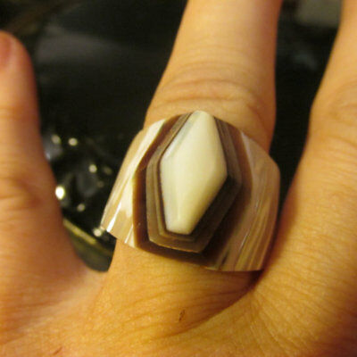 ART DECO Style RING Hand Carved Shell Size 8 UniSex Natural 1940's Estate Sale