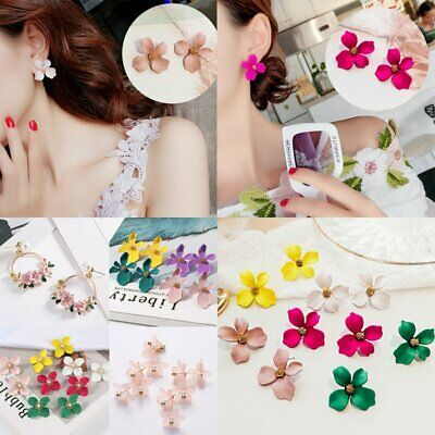 New Fashion Boho Painting Big Flowers Ear Stud Earrings Women Charm Jewelry Gift
