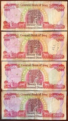 100,000 Iraqi Dinar (IQD) - (4) 25K Banknotes - Limited Quantity - Fast Delivery