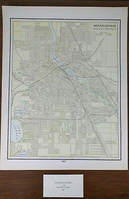 "MINNEAPOLIS MINNESOTA 1900 Vintage Atlas Map 11""x14"" Old EDINA EDEN PRAIRIE"